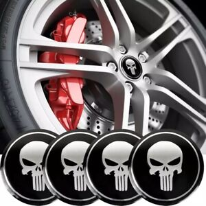 4 Pack Punisher Sticker Decal Dome Metal Wheel Center Caps 2 20
