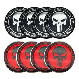 4x Punisher Sticker Decal Dome Metal Wheel Center Caps 2 20