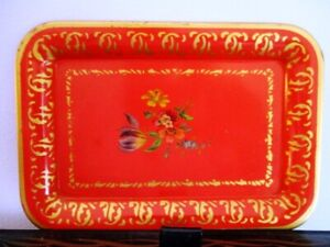 Shabby Vintage Country Chic French Floral Red Dresser Perfume Earring Tole Tray