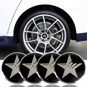 4x Metal Texas Star Sticker Decal Dome Wheel Center Caps 2 20 Silver