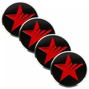 4 Pack Texas Star Sticker Decal Metal Dome Wheel Center Caps 2 20 Red
