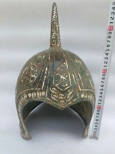 Chinese Bronze Silver Inlaid Helmet With Inscriptions Dynasty General Helmet 2