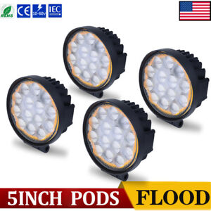4pcs 5inch 60w Flood Led Light Bar Round Amber White Offroad Suv Car Boat Truck