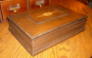 19th C Antique Walnut Inlaid Marquetry Wood Bible Box