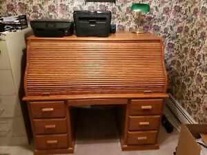 Solid Oak Roll Top Desk Amish Made