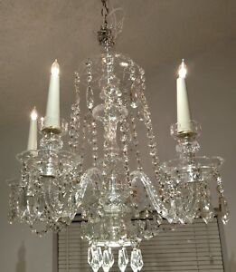 Stunning Vintage 1940 S Crystal Chandelier By Lightolier Fully Restored