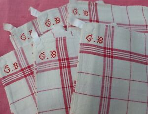6 Vintage French Napkins Torchons Linen Metis Red Stripes Fleur Bleue Unused
