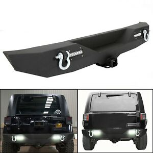 Textured Black Rear Bumper W Led Light For 07 18 Jeep Wrangler Yj Tj