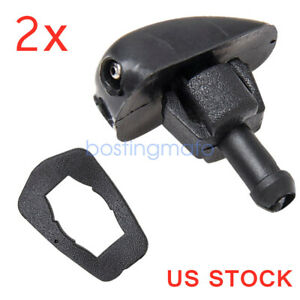 2pcs Plastic Car Auto Window Windshield Washer Spray Sprayer Nozzle Black Top
