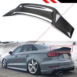 For 14 18 Audi A3 S3 Sedan Highkick Duckbill Rt Style Carbon Fiber Trunk Spoiler