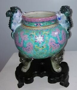 Antique Chinese Porcelain Foo Dog Incense Burner Late Republic Or Early Proch