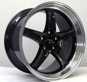 18 Black W Lip Mustang Cobra R Wheels Deep Dish 18x9 18x10 5x114 3 94 04