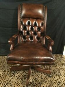 Hancock Moore Executive Editorial Tilt Swivel Chair Brown Leather