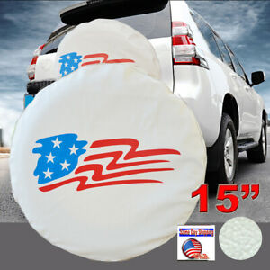 15 White Spare Tire Cover Wheel Us American Flag 28 29 For Jeep Suv Trailer Rv