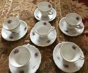 Vintage China Cup Saucer Demitasse Coffee Footed Set Pink Rose Gold Porcelain