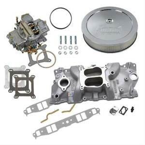 Sbc 327 350 Chevy Edelbrock 2101 Intake Holley 750 Cfm Air Cleaner Combo