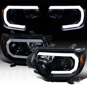 2012 2015 For Toyota Tacoma Black Smoke Led Drl Strip Projector Headlights Pair