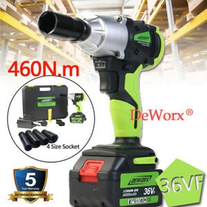 Cordless Impact Wrench Heavy Duty 2 Battery Li Ion Fast Charge Garage Tool Set