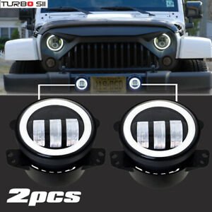 Pair 4inch 30w Halo Led Fog Lights Drl Driving Lamps For 07 17 Jeep Wrangler Jk