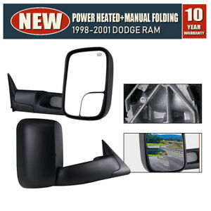 Pair Ram Tow Mirrors Power Heated Floding Fit 98 2001 Dodge Ram 1500 2500 3500