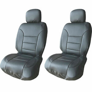 Ultra Gray Pu Leather 4 Pcs Low Back Seat Covers For Auto Cars Suvs Front Pair