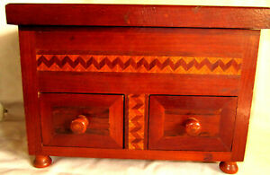 Circa 1940 Handmade Marquetry Inlay Footed Wooden Jewelry Box Tramp Art
