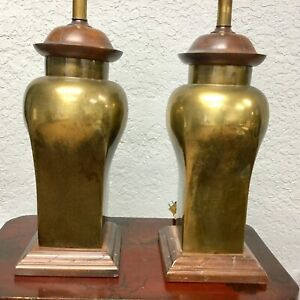 Estate 20th Century Hollywood Regency Ethan Allen Brass Table Lamps A Pair