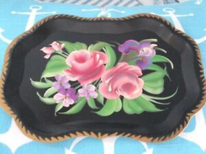 Vintage Hand Painted Lavender Iris Violets Pink Roses Dresser Jewelry Tole Tray