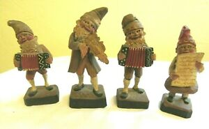 Vintage 4 Hand Carved Painted Wooden Gnomes Standing Figurines Folk Art L 4