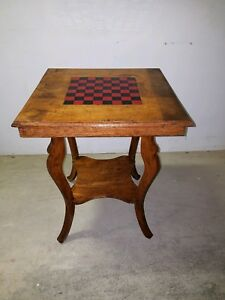 Antique Checker Board Game Table Side End Stand Nightstand Vintage Wood