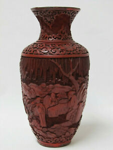 Fine Antique Chinese Carved Red Cinnabar Lacquer Vase With Figure