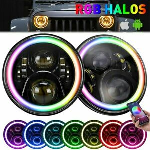 2x 7inch 60w Led Rgb Halo Projector Angel Drl Headlights Fit Jeep Wrangler Jk Tj