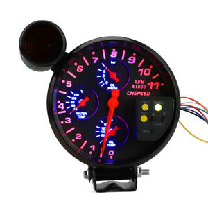 5 Tachometer Rpm Oil Pressure Water Oil Temperature Gauge W Shift Light Black