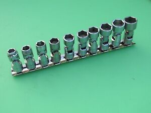 Snap on 206fsum 4 10 Pc 3 8 Metric Swivel Flex Universal Socket Set 10mm 19mm