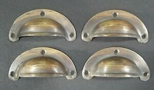 4 Small Antique Bin Cup Pull Drawer Cabinet Handle Solid Brass 2 3 4 Wide A14
