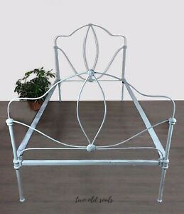 Antique Cast Iron Twin Bed Vintage Metal Painted Victorian Girls Room With Rail