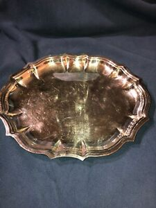 Vintage International Silver Co Chippendale Scalloped 11 X 9 Dish Tray 6342
