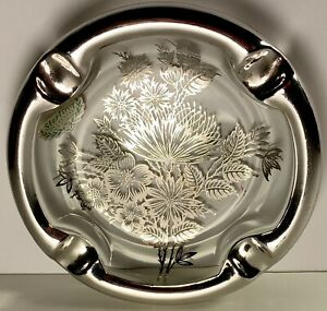Silver City Glass Co Sterling On Crystal Ashtray
