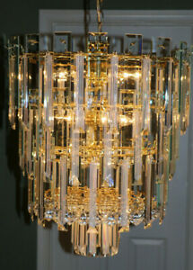 Mid Century Hollywood Regency Waterfall Chandelier Lucite Glass Sciolari Style