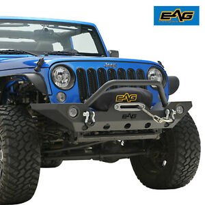 Eag Front Bumper With Led Lights Winch Plate For 07 18 Jeep Wrangler Jk