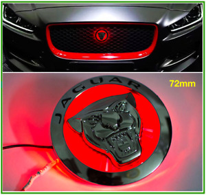 Red Led 72mm Jaguar Xj Xf Xe Xk Front Grille Growler Emblem Badge New