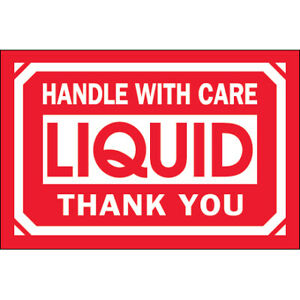 Semi gloss Coated Paper 3 X 5 Handle With Care Liquid Thank You Labels 500 roll