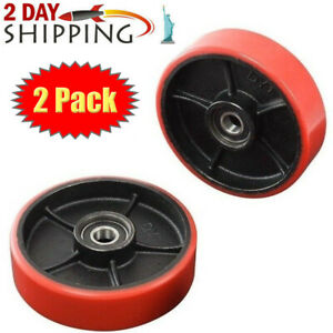 2 Pcs Brand New Pallet Jack truck Steering Wheels Set With Bearings Poly Tread