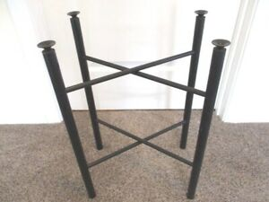Vintage Hand Painted Black Wood Tole Tray Stand Legs For Coffee End Table