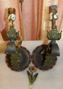 Vtg Polychromatic Pair Wall Sconce Lights 20 S 30 S