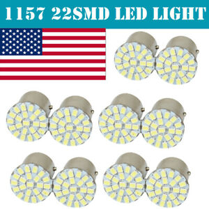10x 1157 Bay15d 22 Smd Led White Car Bulb Light Brake Stop Reverse Hot Us Stock