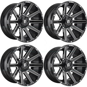 22x10 Black Milled Wheels Fuel Contra D615 5x5 5 5x150 18 Set Of 4