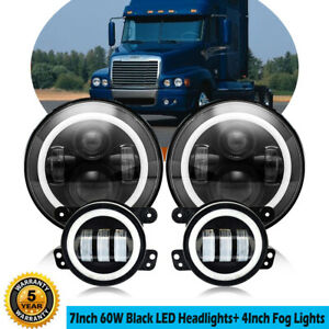 7 Inch 60w Round Led Headlight 30w Halo Led Fog Lights For Freightliner Century