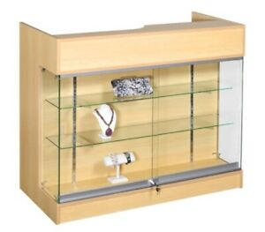 Ledgetop Pos Sales Retail Display 4 Glass Showcase Counter Maple Knockdown New