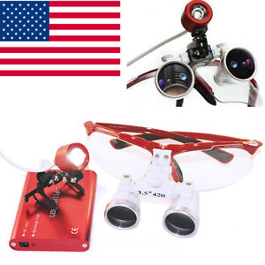 Usa Red Led Headlight Lamp Dental Surgical Medical Binocular Loupes 3 5x 420mm